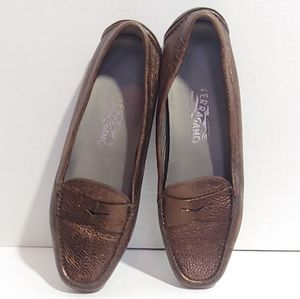 Salvatore Ferragamo bronze leather loafers